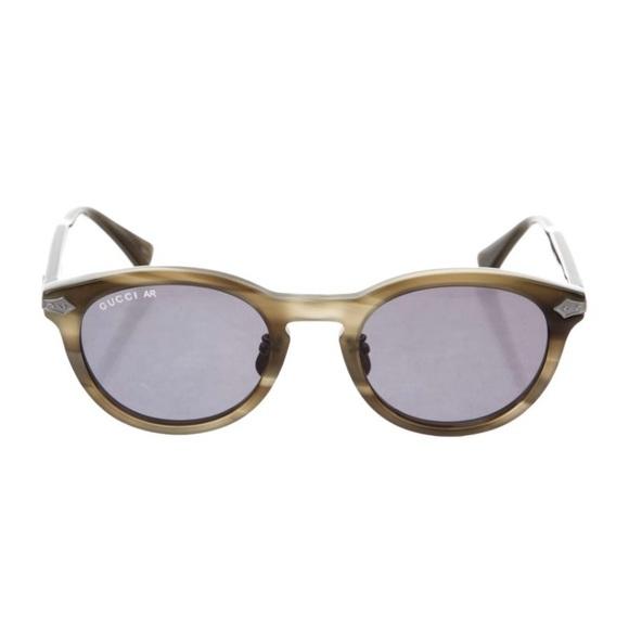 Gucci Dark Olive Titanium Keyhole Sunglasses